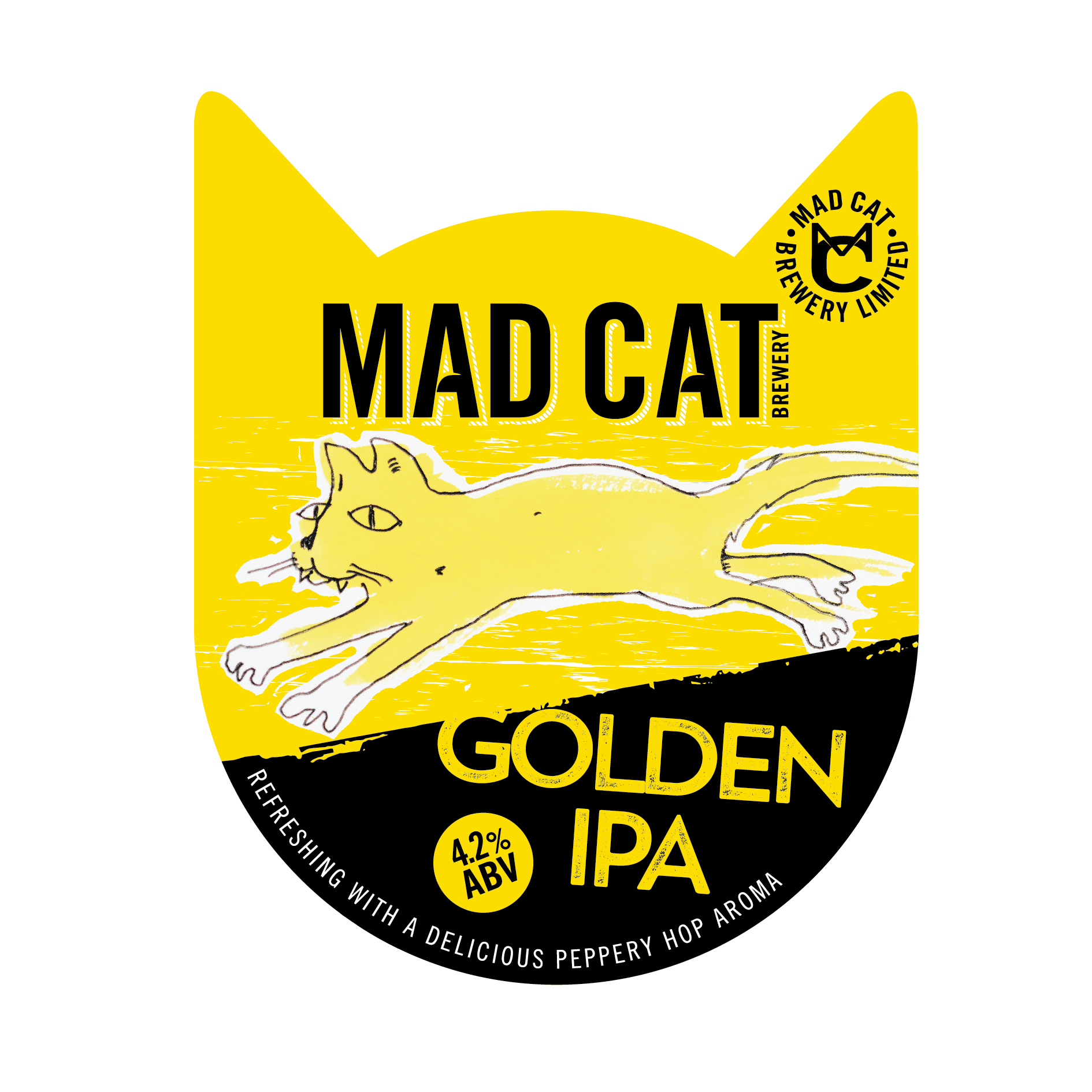 Golden IPA pump clip mad cat ales